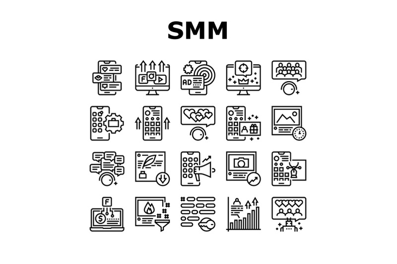 smm-media-marketing-collection-icons-set-vector