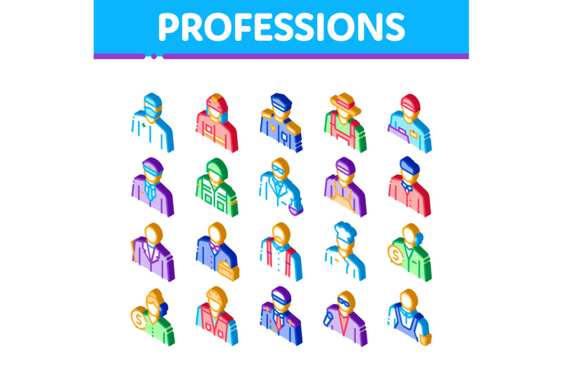 professions-people-isometric-icons-set-vector
