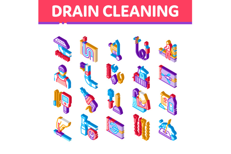 drain-cleaning-service-isometric-icons-set-vector