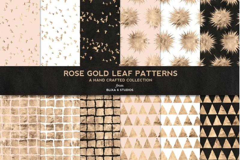 rose-gold-leaf-digital-patterns