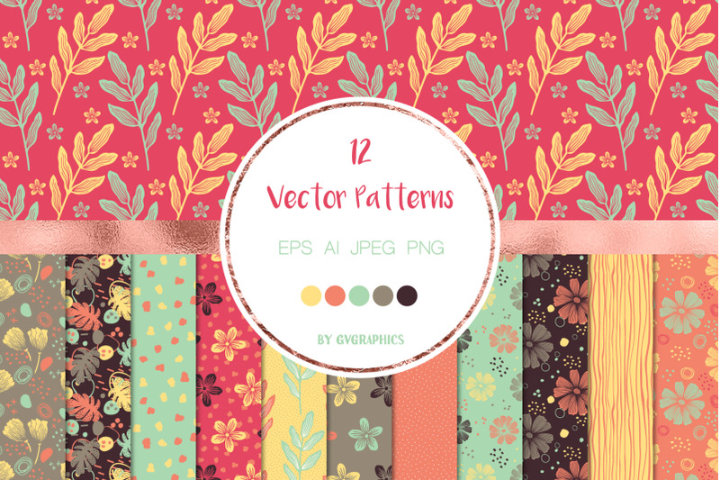 12-flowers-and-doodles-vector-patterns