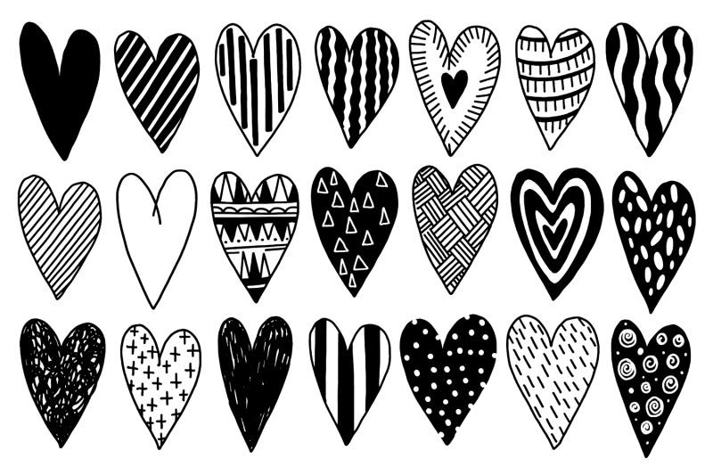 heart-set-doodle-style-black-color