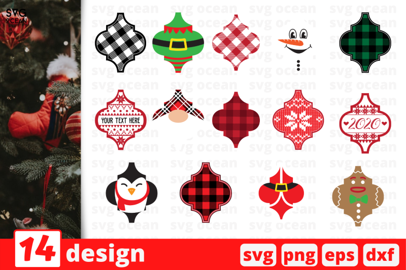 arabesque-tile-christmas-ornaments-svg-bundle
