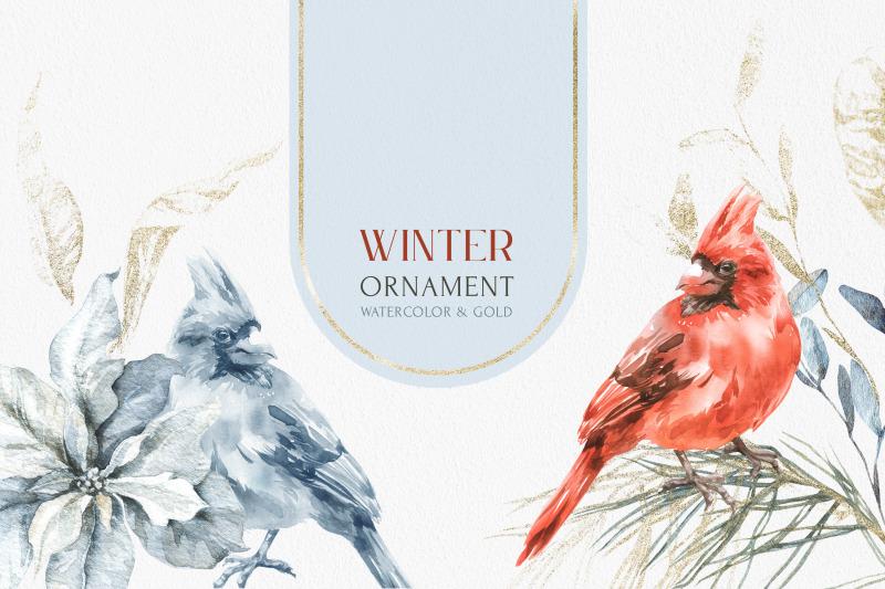 winter-ornament-watercolor-amp-gold