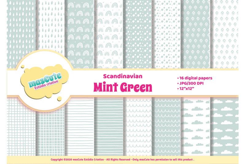 digital-paper-pack-scandinavian-mint-green