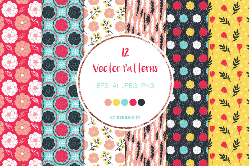 12-vivid-flowers-leaves-and-doodles-vector-seamless-patterns