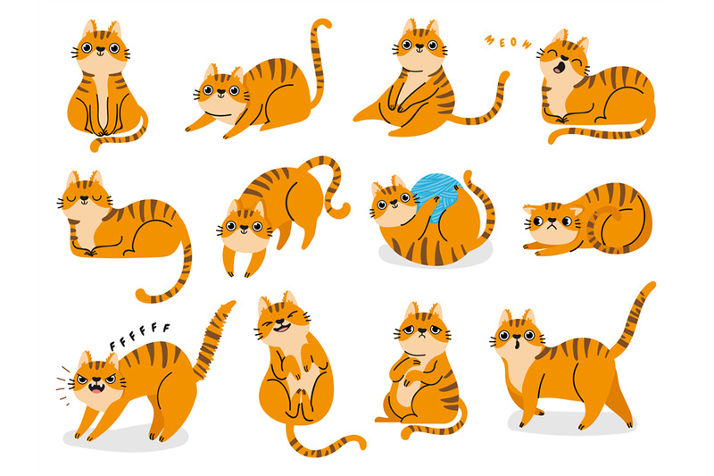 cat-poses-cartoon-red-fat-striped-cats-emotions-and-behavior-animal