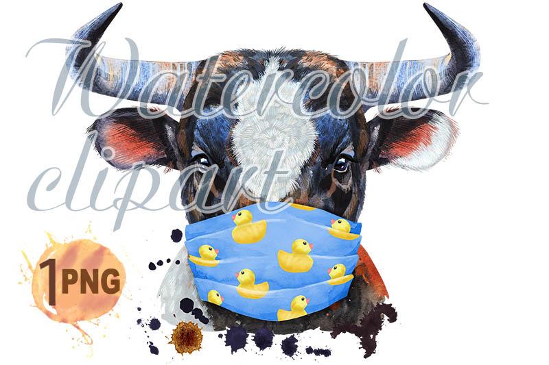 watercolor-illustration-of-black-bull-in-protective-mask