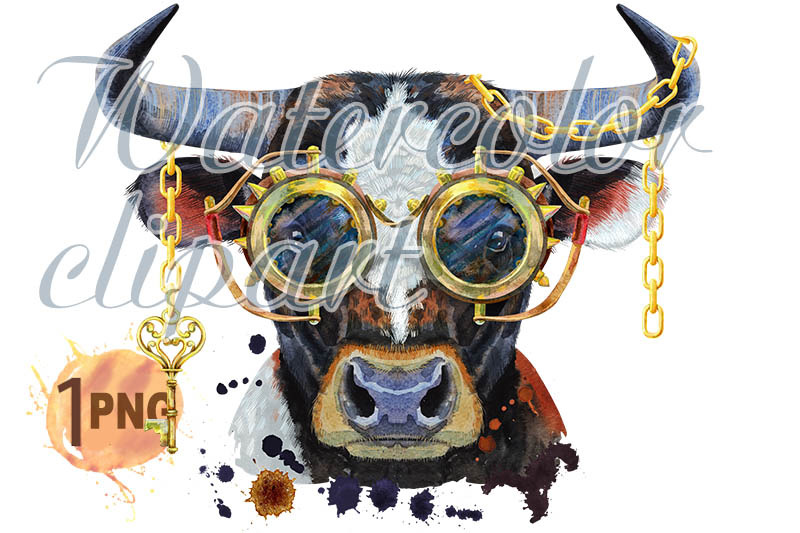 watercolor-illustration-of-black-bull-with-steampunk-glasses