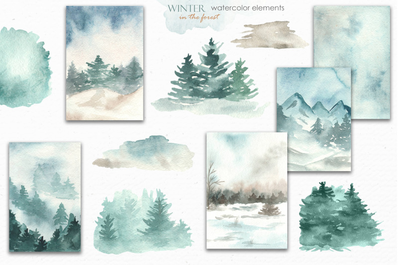 winter-in-the-forest-watercolor