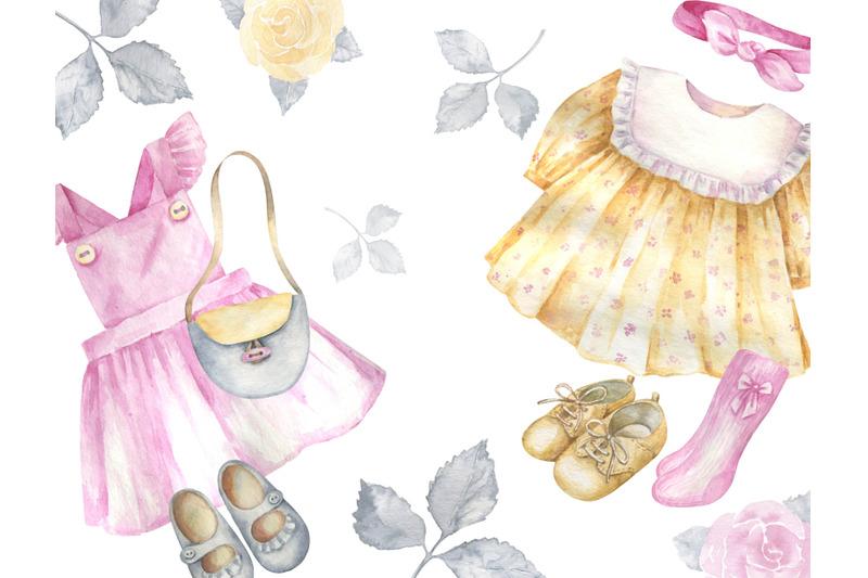 watercolor-vintage-girl-clothes-clipart-retro-clothes-for-girls-clip-a