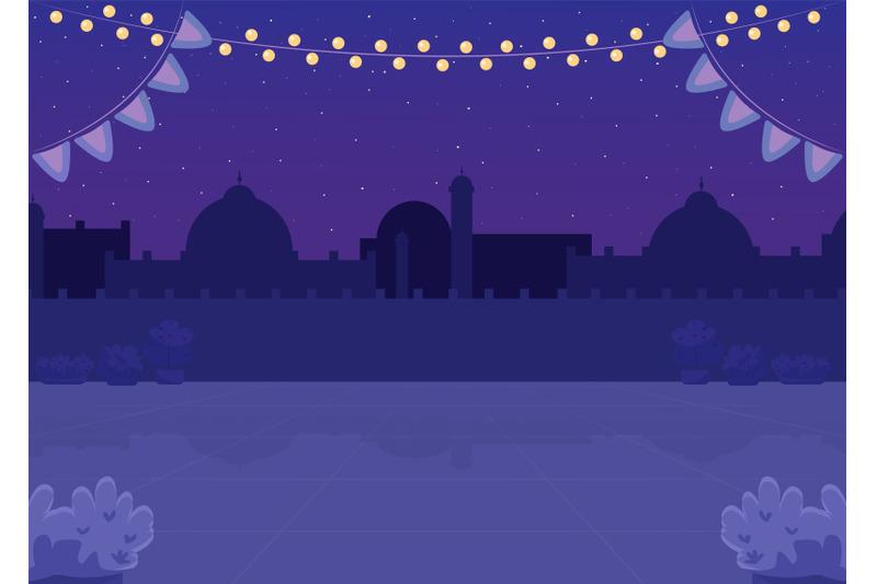 nighttime-indian-plaza-flat-color-vector-illustration
