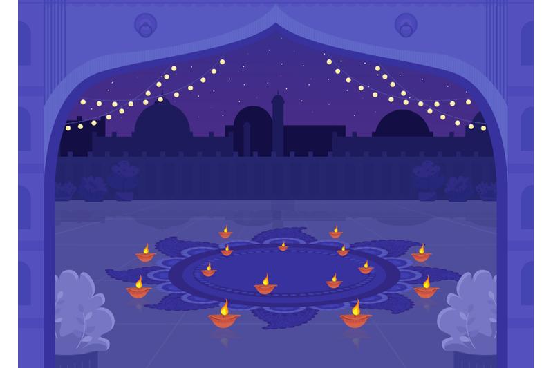 diya-candles-for-celebration-flat-color-vector-illustration