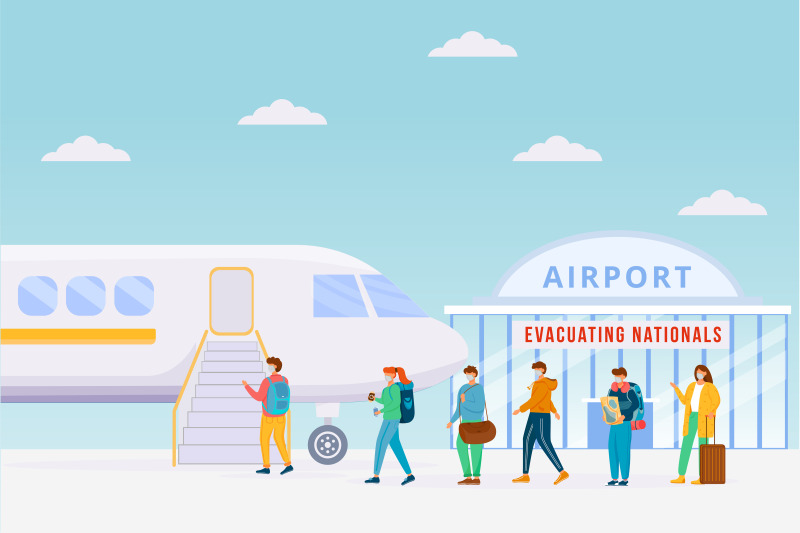 emergency-airplane-evacuation-flat-color-vector-illustration