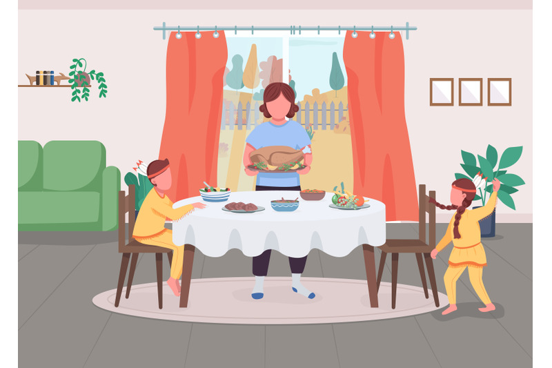 family-celebrate-thanksgiving-flat-color-vector-illustration