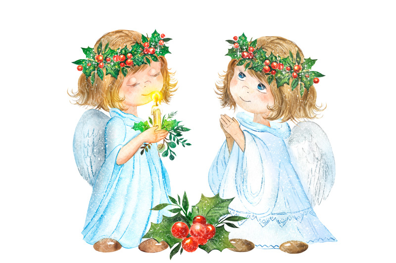 christmas-angel-watercolor-clipart-girls-dressed-as-an-angel