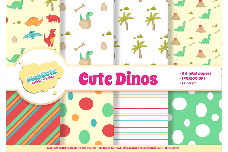 digital-paper-pack-cute-dinosaurs