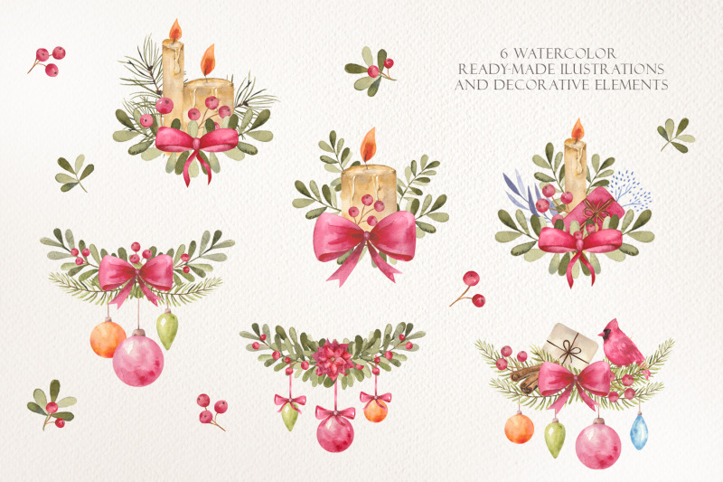 watercolor-christmas-wreath-and-cliparts