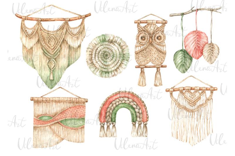 macrame-clipart-watercolor-home-decor-boho-design-vintage-wedding-png