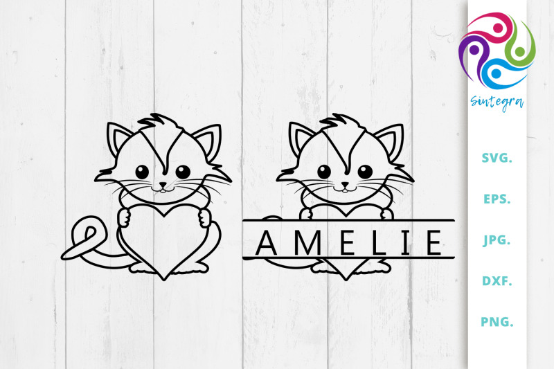 linear-cat-with-heart-and-split-monogram-bundle-svg-file