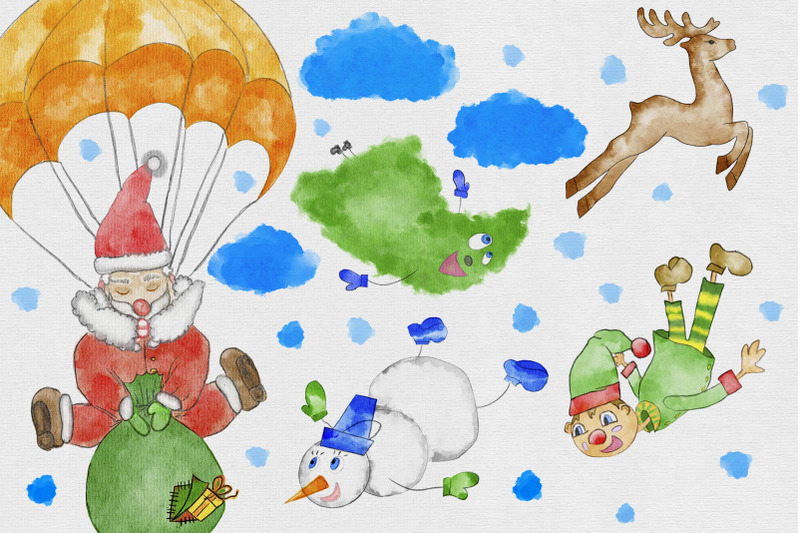watercolor-christmas-hand-drawn