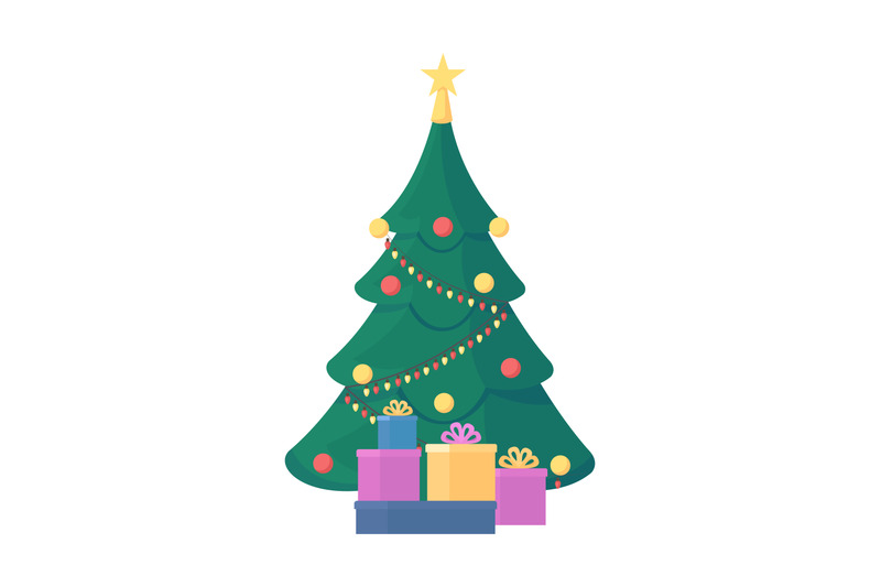 christmas-tree-flat-color-vector-object