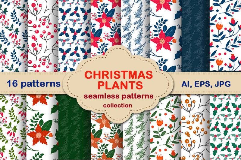 christmas-plants-seamless-pattern-set