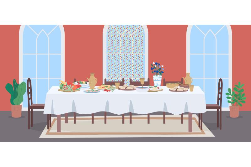 national-muslim-meal-flat-color-vector-illustration