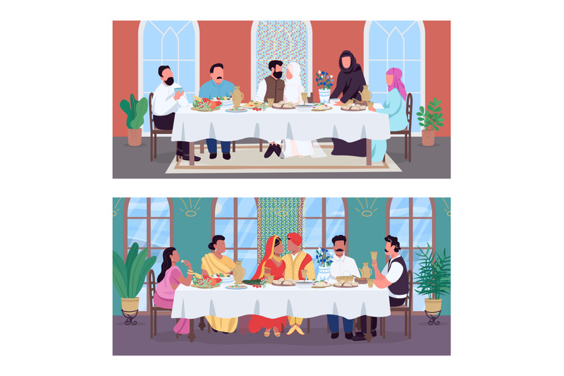 traditional-oriental-wedding-dinner-flat-color-vector-illustration-set