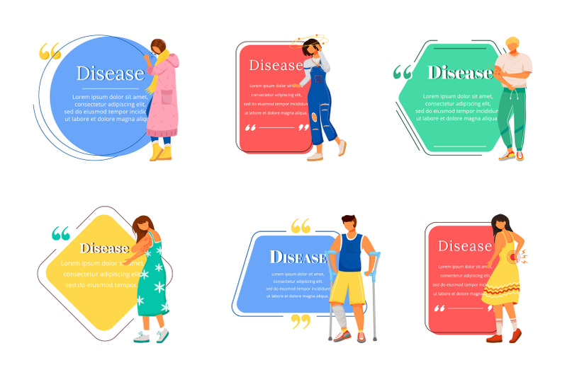 disease-flat-color-vector-character-quote-set