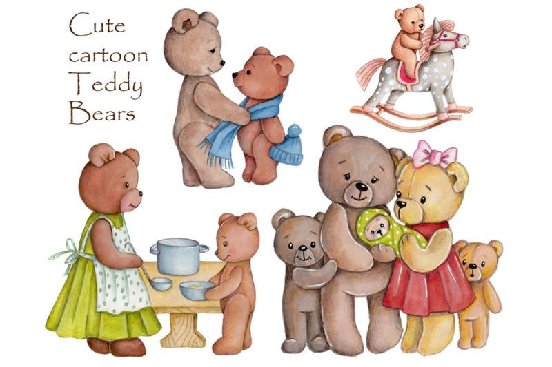cute-cartoon-teddy-bears-watercolor-illustrations