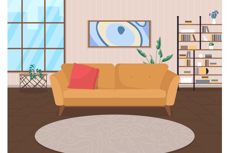 trendy-living-room-flat-color-vector-illustration