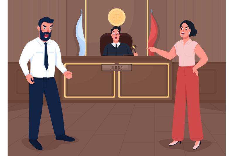 law-court-session-flat-color-vector-illustration