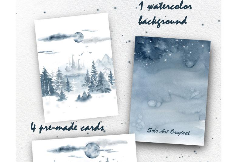 winter-forest-landscape-watercolor-clip-art-set