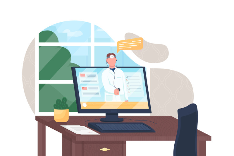 online-doctor-flat-concept-vector-illustration