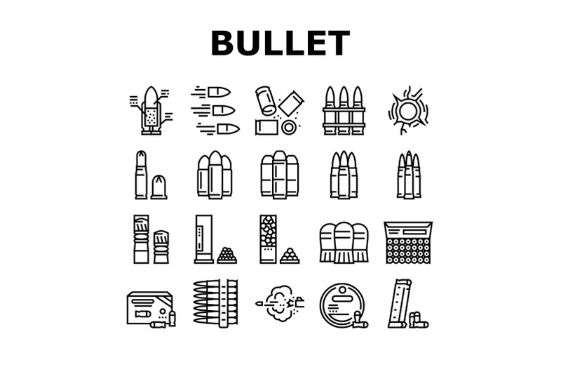 bullet-ammunition-collection-icons-set-vector