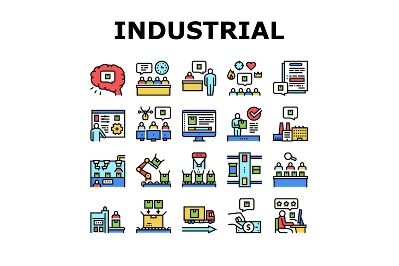 industrial-process-collection-icons-set-vector