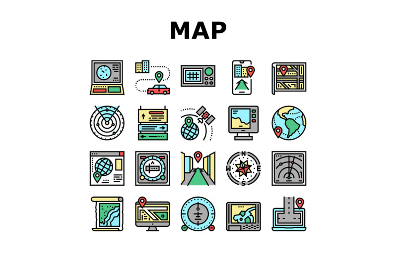 map-location-system-collection-icons-set-vector