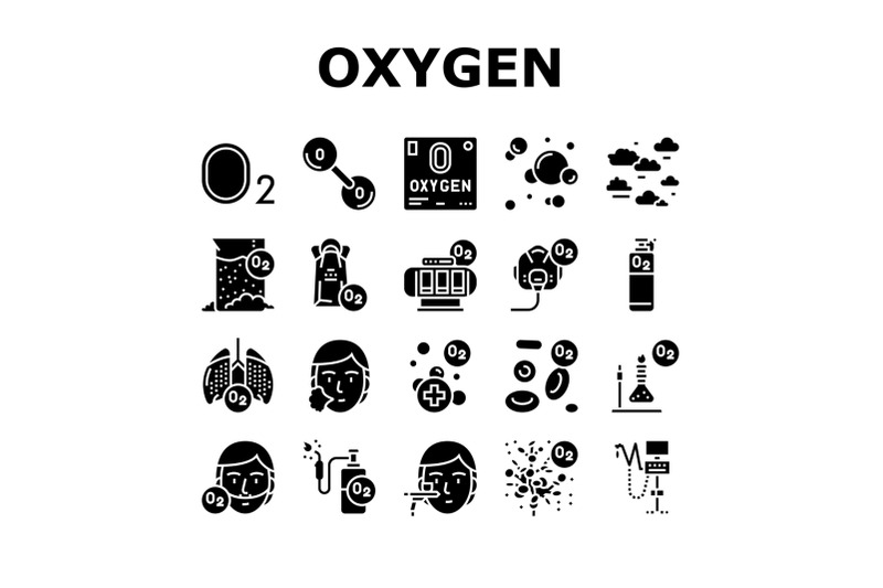 oxygen-o2-chemical-collection-icons-set-vector