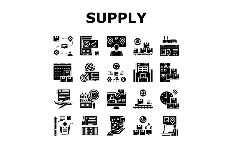 supply-chain-management-system-icons-set-vector