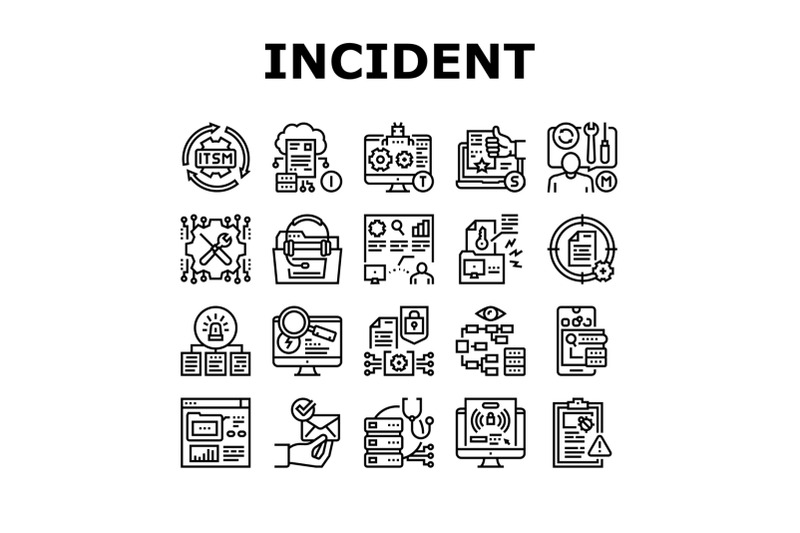 incident-management-collection-icons-set-vector