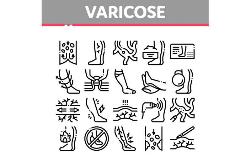 varicose-veins-disease-collection-icons-set-vector