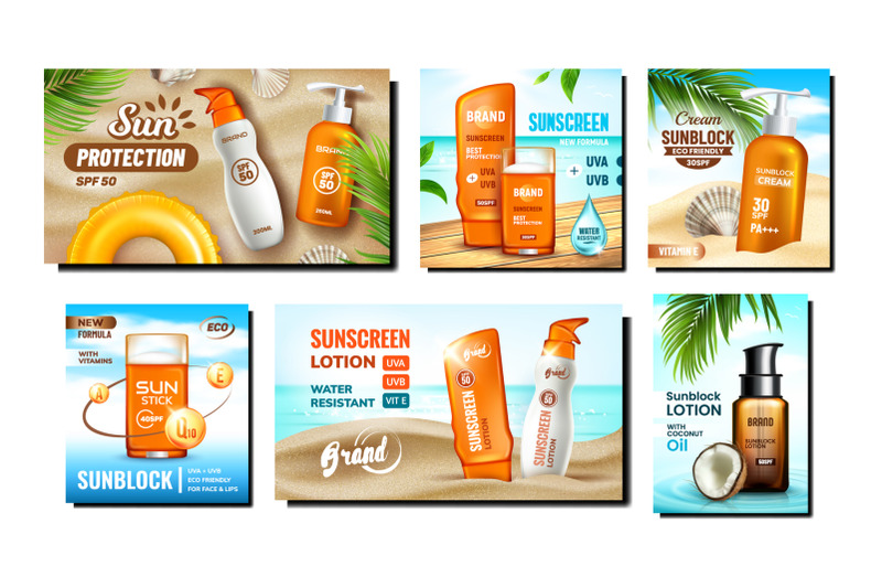 sunscreen-cream-promotional-posters-set-vector