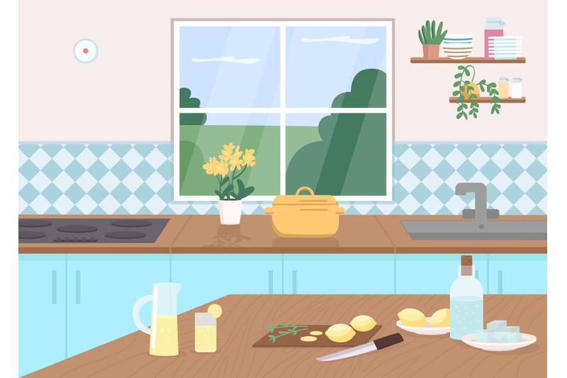kitchen-counter-flat-color-vector-illustration