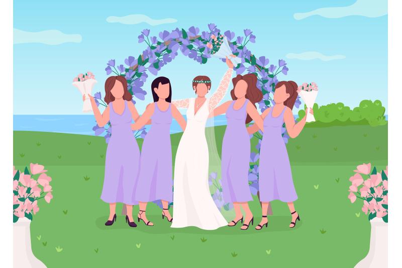 bride-with-bridesmaids-flat-color-vector-illustration