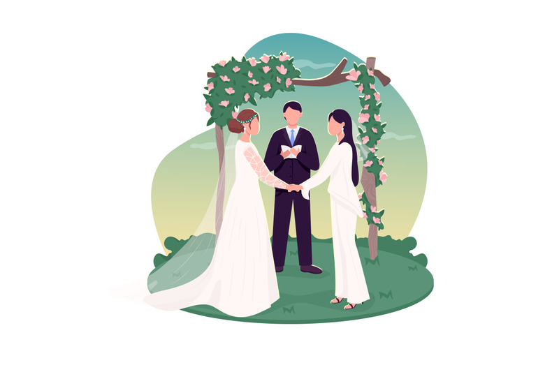 lesbian-couple-getting-married-2d-vector-web-banner-poster