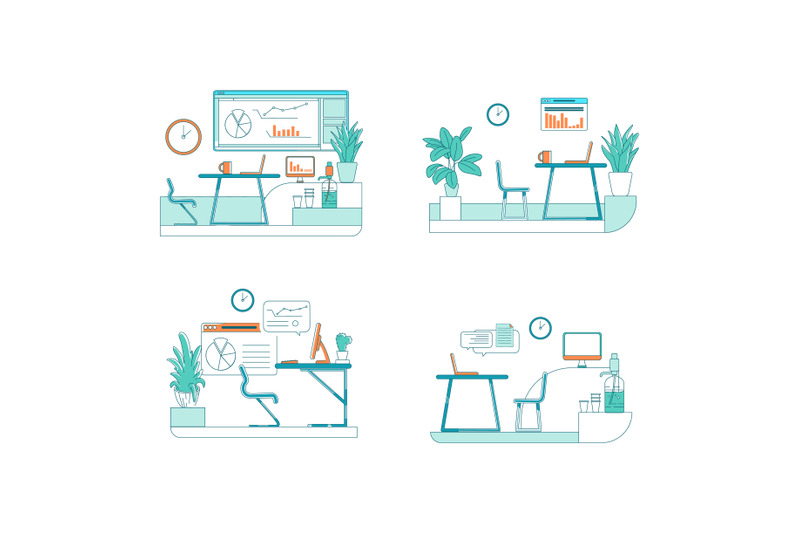 office-spaces-flat-color-vector-scene-set