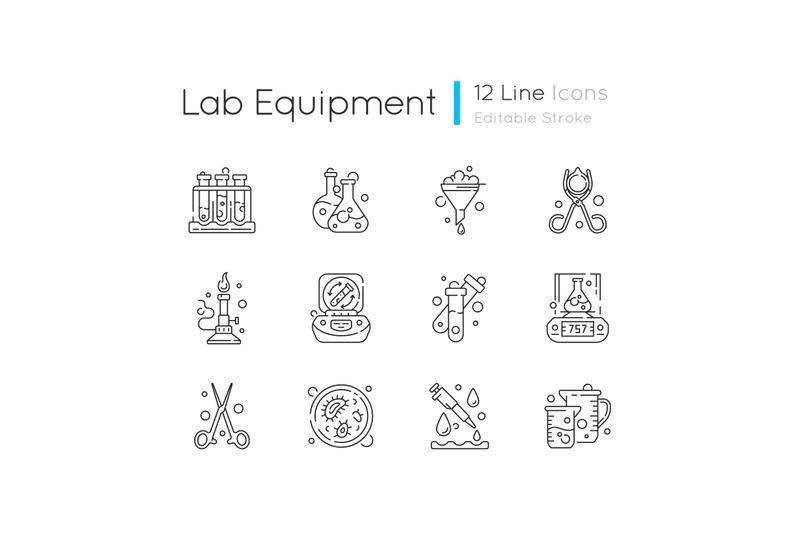 lab-equipment-linear-icons-set