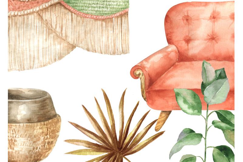 watercolr-boho-home-clipart-cozy-home-decor-clip-art-modern-interior-b