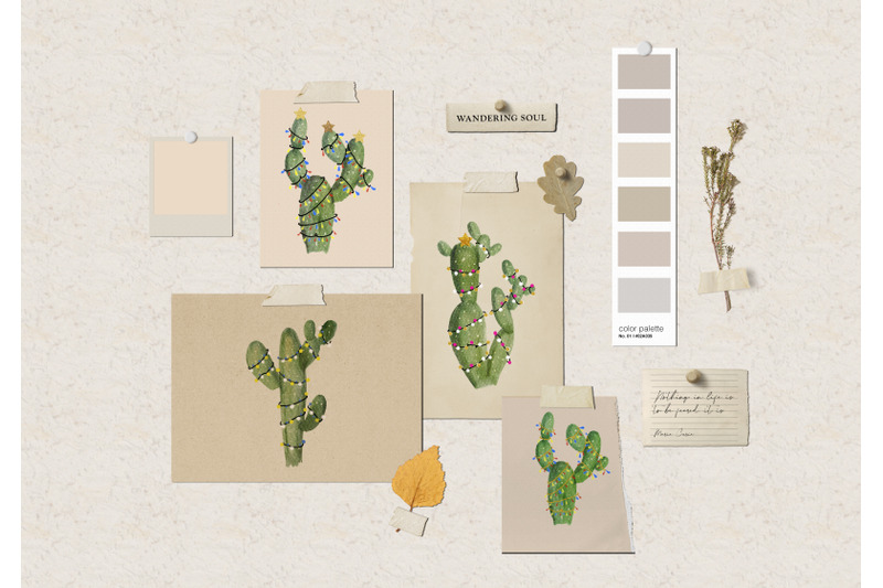 cactus-christmas-clipart-watercolor-holiday-clipart-green-natural
